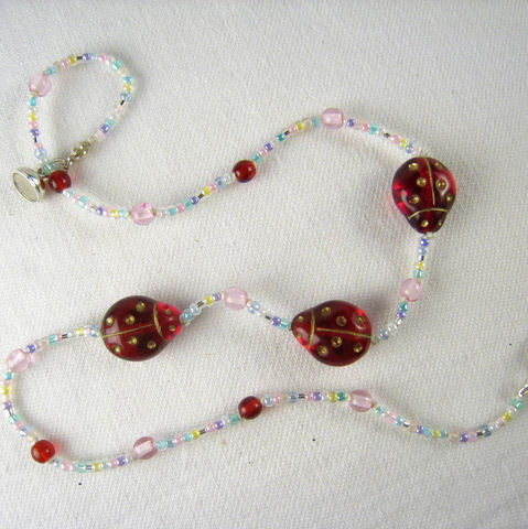 Little,Girls,Jewelry,,Sweet,Ladybugs,Beaded,Necklace,,Magnetic,clasp,for,Kids,Children,Jewelry,Necklace,Pink,little_girls,kids,grandchildren,magnetic_clasp,beaded,sparkle,pretty,rose,Holiday,Gift,birthday,pastels,Czech_glass_beads,silk_cord,lead_safe_magnetic_clasp,Argentium_silver_hardware