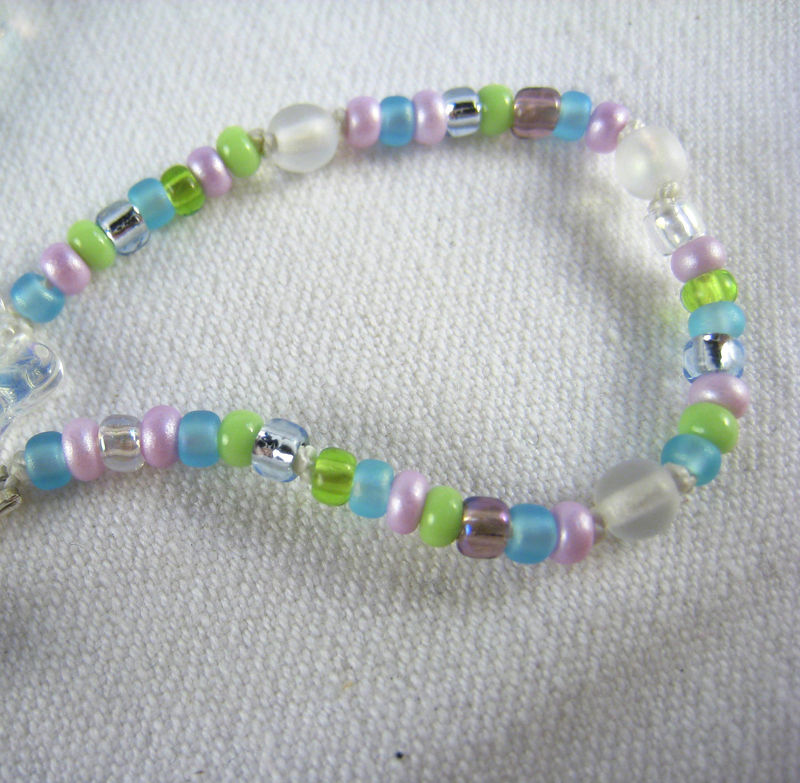 Kids Jewelry, Girls Iridescent Butterfly Necklace, Pastel Beads Magnetic clasp - product images  of