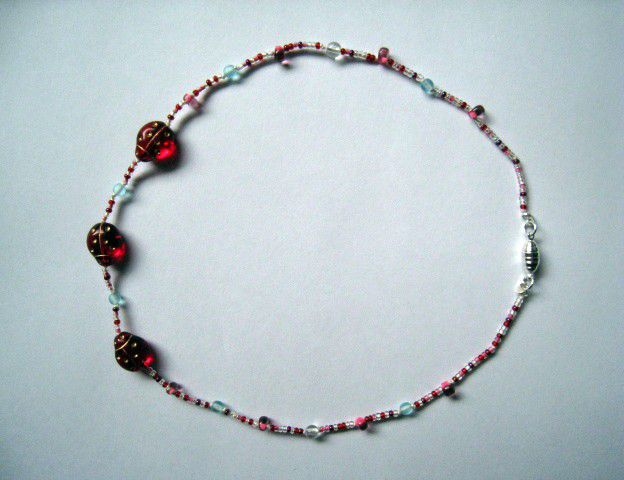Girls Jewelry, Red Ladybugs Beaded Necklace, Magnetic Clasp - product images  of