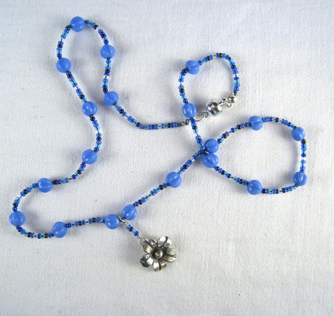 Beaded,Jewelry,,Hill,tribe,Silver,Flower,Pendant,Necklace,,Blue,Glass,Beads,Jewelry,Necklace,Beadwork,czech_glass_beads,blue,ecclectic,sophisticated,magnetic_clasp,Hill_tribes,silk_cord,Hill_Tribe_Silver,Argentium_silver_hardware,Japanese_glass_beads