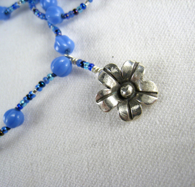 Beaded Jewelry, Hill tribe Silver Flower Pendant Necklace, Blue Glass Beads - product images  of