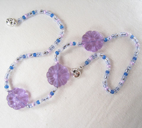 Girls,Jewelry,,Purple,Carved,Flowers,Necklace,,Silver,lined,Beads,,Magnetic,clasp,Children,Jewelry,Necklace,little_girls,kids,grandchildren,flowers,magnetic_clasp,beaded,Holiday,Gift,birthday,tween,Lavender,sparkle,Czech_glass_beads,silk_cord,lead_safe_magnetic_clasp,Argentium_silver_hardware,Carved_Glass_Flowers
