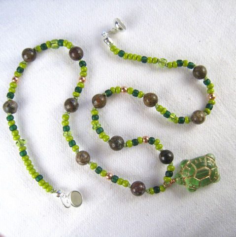 Childrens,Beaded,Jewelry,,Green,Turtle,Necklace,,Pietersite,,Copper,,Magnetic,Clasp,Children,Jewelry,Necklace,Turtles,Magnetic_Clasp,green,cheerful,kids,birthday,holiday,christmas,Pietersite,earthy,copper,brown,unisex,czech_glass_beads,japanese_seed_beads,argentium_silver_findings,lead_safe_magnetic_clasp,copper_beads,copper_headpin,silk