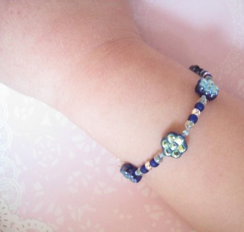 Girl,Jewelry,,Cobalt,Flower,Bracelet,,Magnetic,Clasp,Children,Jewelry,Bracelet,kids,cobalt_blue,iridescent,sterling_silver,magnetic_clasp,beaded,little_girl,made_in_italy_team,spring,czech_glass,gift,birthday,holiday,czech_glass_beads,japanese_glass_beads,sterling_silver_beads,silk_cord,lead_safe_magnetic_c