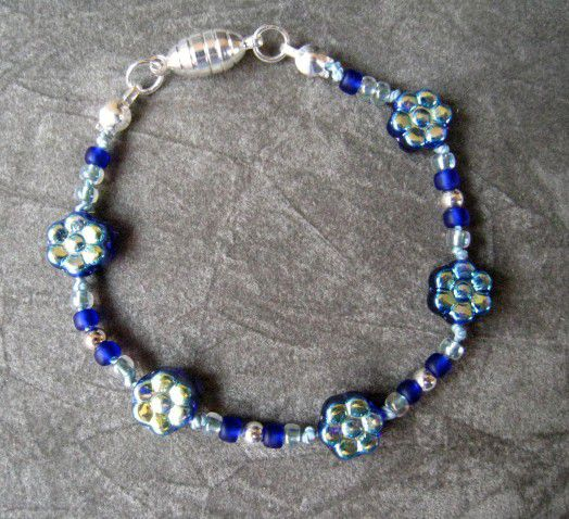 Girl Jewelry, Cobalt Flower Bracelet, Magnetic Clasp - product images  of