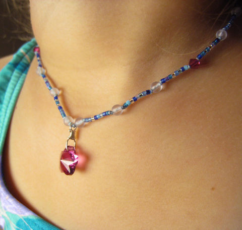 Girls,Jewelry,,Swarovski,Pink,Flower,Princess,Necklace,,Magnetic,Clasp,Children,Jewelry,Necklace,Magnetic_Clasp,cheerful,light,little_girls,kids,birthday,holiday,christmas,fuchsia,swarovski_pendant,blue,jewel_tones,czech_glass_beads,japanese_seed_beads,argentium_silver_findings,lead_safe_magnetic_clasp,Swarovski_Crystals