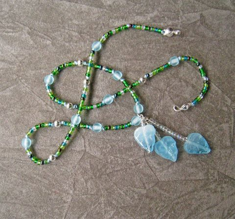 Kid,Necklace,,Falling,Leaves,,Czech,glass,Children,Jewelry,Necklace,beaded,pendant,light_blue,dark_green,sterling_silver,little_girl,leaves,nature,magnetic_clasp,silk_cord,spring,holiday,children,czech_glass_beads,sterling_silver_beads,sterling_silver_hardaware,lead_safe_magnetic_clasp