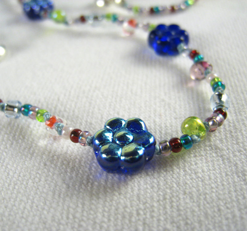 Little Girls Jewelry, Blue Flower Necklace, Magnetic clasp, Rainbow beads - product images  of
