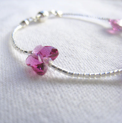 Little,Girls,Jewelry,,Fuchsia,Swarovski,Butterfly,Bracelet,,Magnetic,Clasp,Children,Jewelry,Bracelet,Swarovski_crystals,pink,magenta,fuchsia,holiday,little_girl,princess,gift,birthday,silver,butterfly,kid,magnetic_clasp,Silk_cord,Japanese_Delica_Beads,silver_plated_magnetic_clasp,Argentium_silver_hardware,Swarovski_Crystals