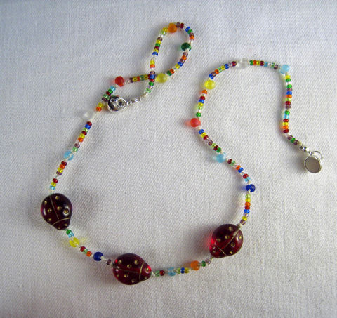 Girls,Jewelry,,Rainbow,Ladybugs,Necklace,,Glass,Beaded,Magnetic,clasp,Children,Jewelry,Necklace,Pink,little_girls,kids,grandchildren,flowers,magnetic_clasp,beaded,sparkle,pretty,rose,Holiday,Gift,birthday,Czech_glass_beads,silk_cord,lead_safe_magnetic_clasp,Argentium_silver_hardware
