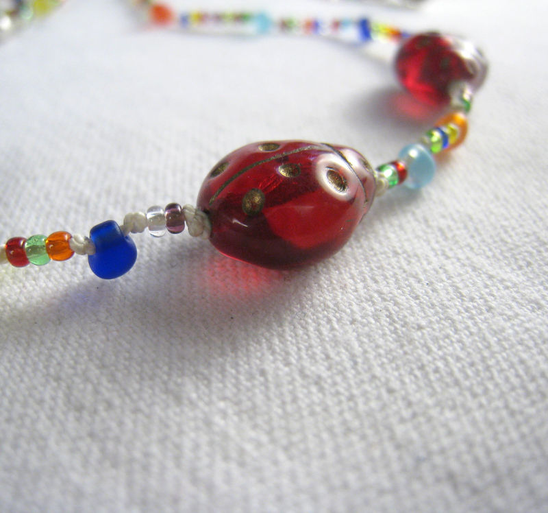 Girls Jewelry, Rainbow Ladybugs Necklace, Glass Beaded Jewelry, Magnetic clasp - product images  of