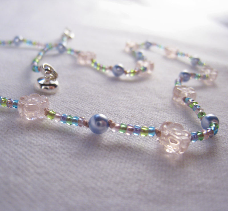 Girls Necklace, Pink Flowers, Light Blue Swarovski Pearls, Magnetic clasp - product images  of