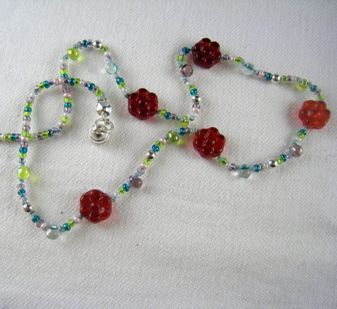Little,Girls,Jewelry,,Red,Flower,Necklace,,Magnetic,clasp,,Silver,beads,Children,Jewelry,Necklace,little_girl,birthday,holiday,red,silver,colorful,magnetic_clasp,nature,rainbow,beaded,kids,little_peeps,Czech_Glass_beads,Japanese_glass_beads,silk_cord,sterling_silver,lead_safe_magnetic_clasp
