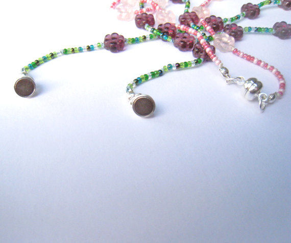 Kid's beaded Necklace, Flowers, Swarovski Crystals, Rose Quartz - product images  of