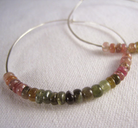 Beaded,Large,Hoop,Earrings,,Argentium,Silver,,Tourmaline,Jewelry,Earrings,Stone,Argentium_Silver,large_hoops,nickel_free,tourmaline,multicolor,pink,beaded,green,gift,holiday,birthday,ecclectic,rondelle,Argentium_Sterling_Silver