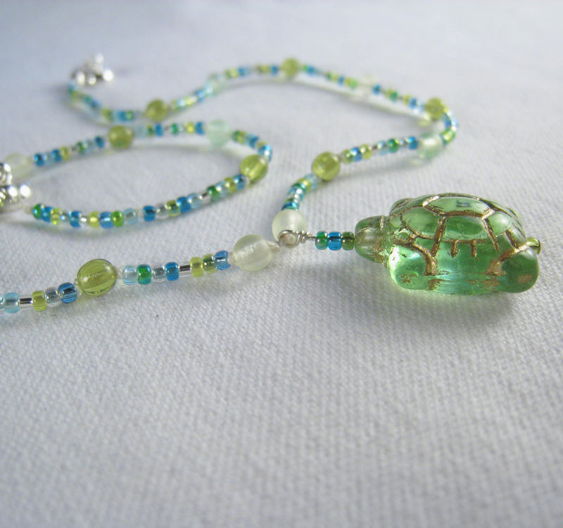 Girls Jewelry, Green & Blue Turtle Necklace, Magnetic Clasp - product images  of