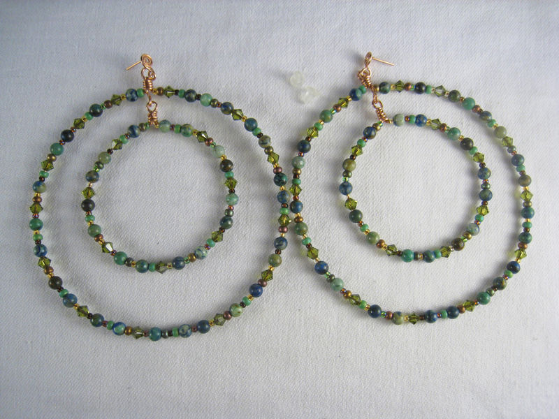 Beaded Double Hoop Large Earrings, Chrysocolla, Copper, Swarovski Crystals - product images  of