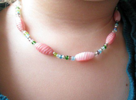 Kid's Beaded Necklace, Pink Glass Silver - product images  of