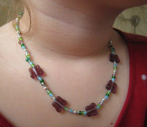 Little Girl Beaded Necklace, Purple Butterfies, Magnetic Clasp - product images  of