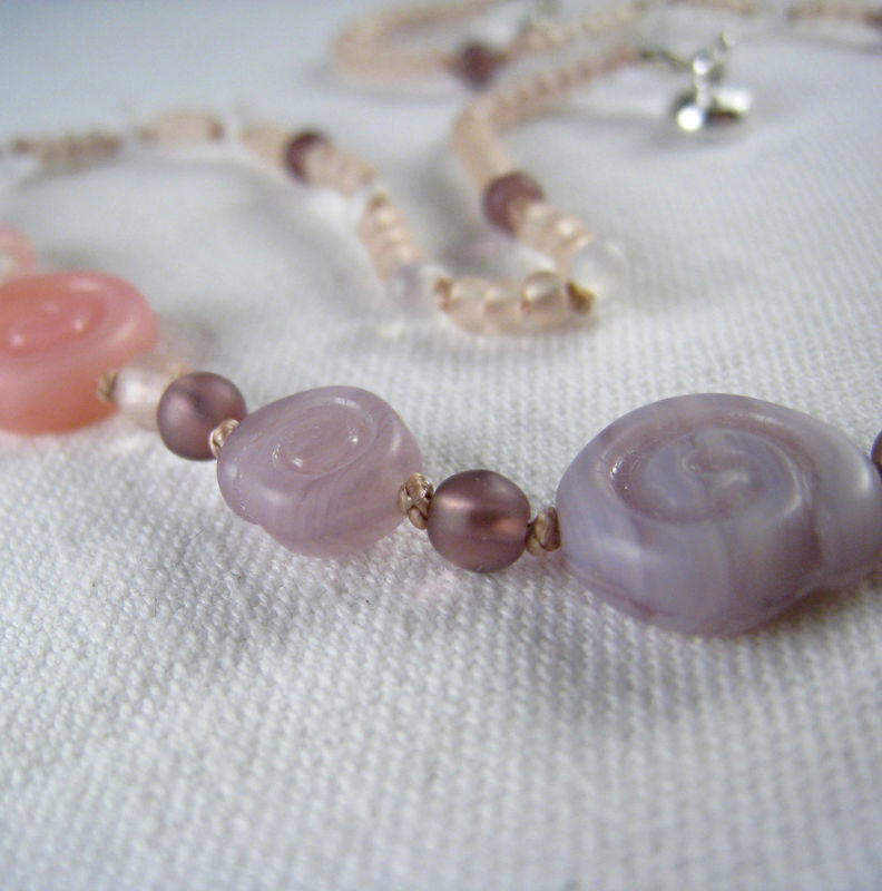 Little Girls Necklace, Pink & Purple Swirls, Magnetic Clasp - product images  of