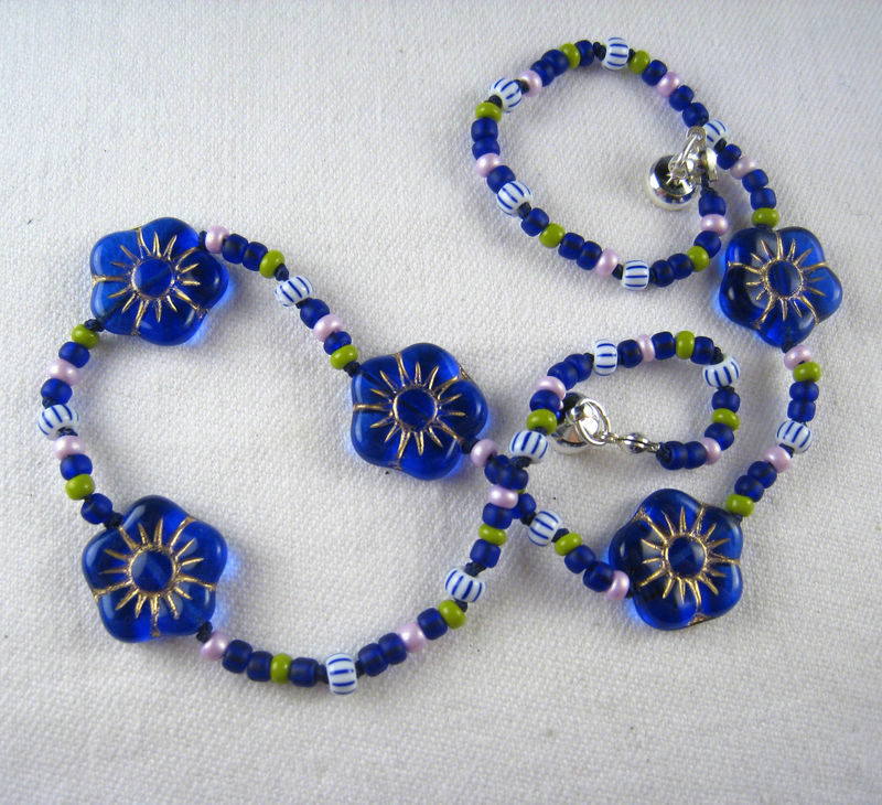 Little Girls Necklace, Cobalt Blue Flowers, Magnetic Clasp - product images  of