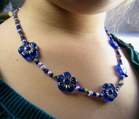 Little,Girls,Necklace,,Cobalt,Blue,Flowers,,Magnetic,Clasp,Children,Jewelry,Necklace,blue,flower,birthday,tween,magnetic_clasp,cobalt,beaded,kids,girls,holiday,whimsical,Czech_Beads,Japanese_beads,argentium_sterling_silver_findings,lead_safe_magnetic_clasp,silk_cord