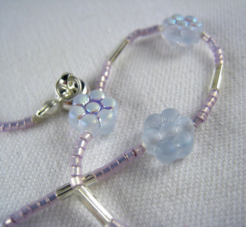 Little Girls Necklace, Light Purple Flowers, Magnetic Clasp - product images  of