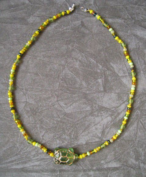 Kids Jewelry, Green Turtle Necklace, Czech Glass, Yellow Seed - product images  of