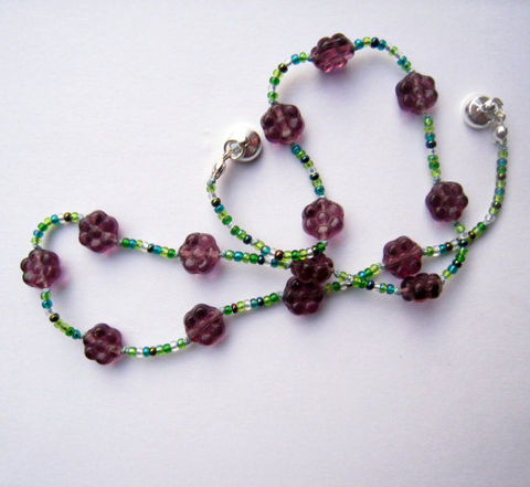 Kids,Beaded,Necklace,,Purple,Czech,Glass,Flowers,,Jewelry,For,Summer,,Magnetic,Clasp,Children,Necklace,kids,children,purple,summer,beaded,magnetic_clasp,green,czech_glass,flowers,necklace,spring,airy,Made_in_italy_team,Argentium_sterling_Silver_findings,silk_cord,lead_safe_silver_plated_magnetic_clasp,czech_glass_beads