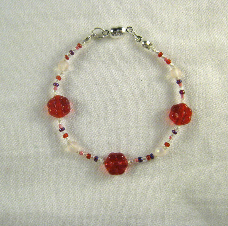 Girls Jewelry, Bracelet, Red Flowers, Magnetic Clasp - product images  of