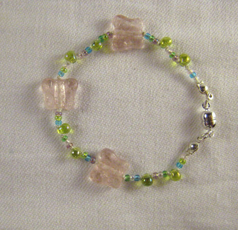 Girls,Bracelet,,Pink,Butterflies,,Green,Beads,,Magnetic,clasp,Children,Jewelry,Bracelet,girls,butterflies,pink,spring,gift,holiday,birthday,little_peeps,kids,beaded,czech_glass,magnetic_clasp,argentium_silver,Czech_glass_beads,silk_cord,silver_plated_magnetic_clasp