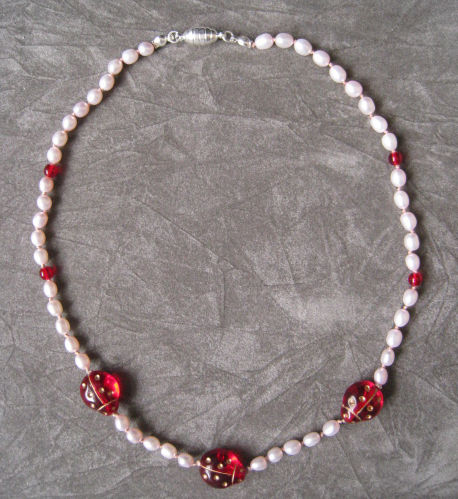 Girls Jewelry, Red Ladybugs & Pearls Necklace, Magnetic Clasp - product images  of