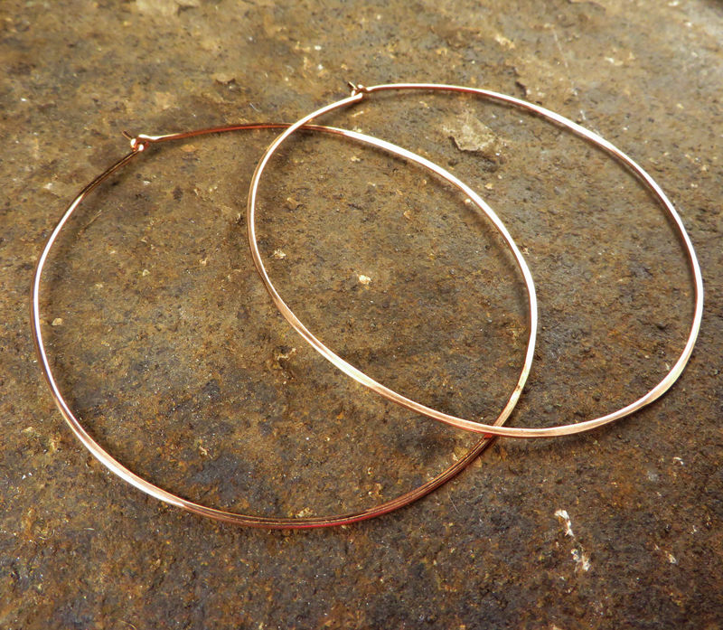 Large Hoop Earrings, Rose Gold-Filled, Womens Copper Jewelry - product images  of
