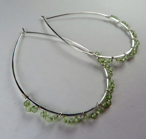 Sterling,Silver,&,Peridot,Teardrop,Hoop,Earrings,,Nickel-free,Argentium,Teardrops,Jewelry,Earrings,Argentium_Silver,large_hoops,nickel_free,gift,holiday,birthday,ecclectic,rondelle,Argentium_Sterling_Silver, Hammered, Texture
