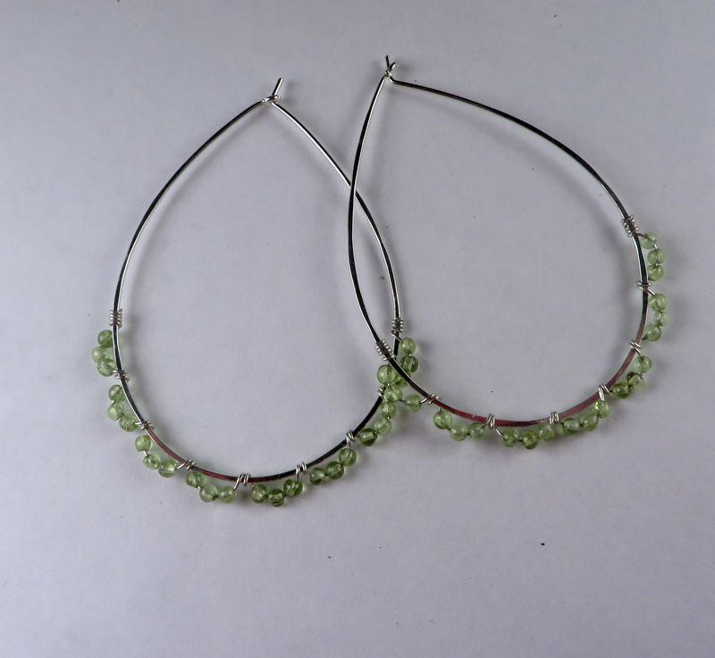 Sterling Silver & Peridot Teardrop Hoop Earrings, Nickel-free Argentium Silver Teardrops - product images  of