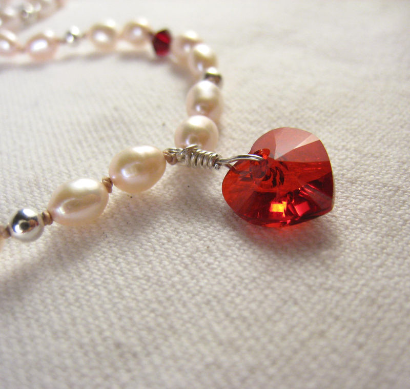 Girls Jewelry, Swarovski Red Heart & Pearls Princess Necklace,  Magnetic Clasp - product images  of