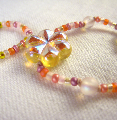 Childrens,Beaded,Necklace,,Yellow,Iridescent,Flowers,,Peach,&,Pink,beads,,Magnetic,clasp,,jewelry,Children,Jewelry,Necklace,girls,kids,children,gift,summer,beach,peach,orange,yellow,mauve,magnetic_clasp,lifetime_guarantee,flower,Silk_cord,Czech_beads,Japanese_beads,Argentium_sterling_silver,silver_plated_magnetic_clasp