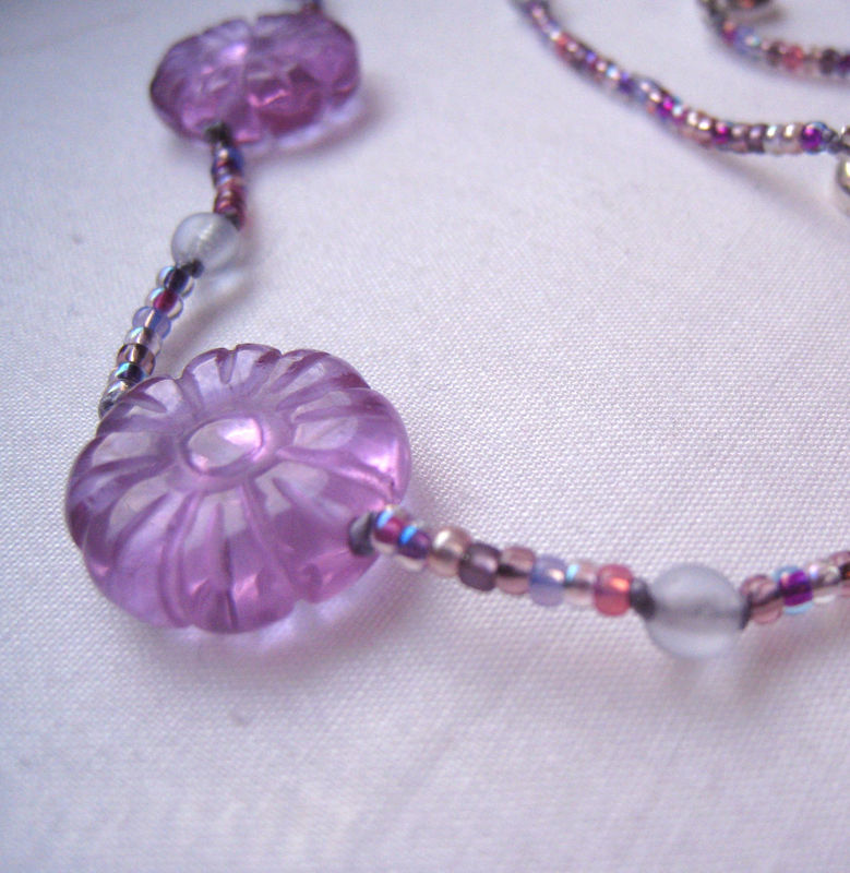 Girls Beaded Jewelry, Purple Carved Flowers Necklace, Magenta Beads, Magnetic clasp - product images  of