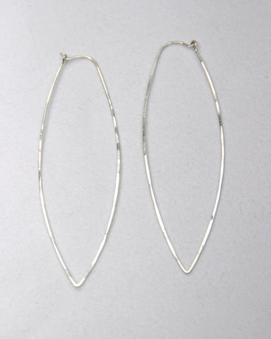 Elongated,Hoop,Earrings,in,Hammered,Argentium,Sterling,Silver,Jewelry,Argentium_Silver,large_hoops,nickel_free,gift,holiday,birthday,ecclectic,Argentium_Sterling_Silver, Hammered, Texture