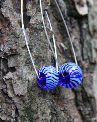 Blue,Lampwork,Bead,Wishbone,Hoop,Earrings,,Argentium,Sterling,Silver,,Nickel-Free,Blue bead earrings, Dramatic earrings, Argentium_Silver, lampwork glass,nickel_free, Everyday jewelry, women's jewelry, Summer jewelry, Made in USA