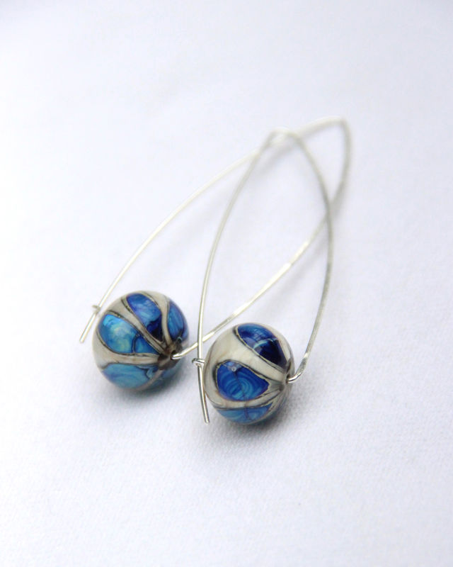 Blue Flower Lampwork Bead Wishbone Hoop Earrings, Argentium Sterling Silver, Nickel-Free - product images  of