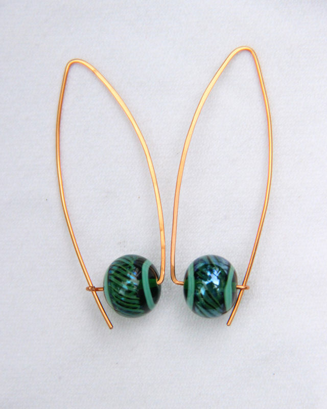 Green Beaded Womens Earrings, Rose Gold-filled Wishbone Hoops, Nickel-Free - product images  of
