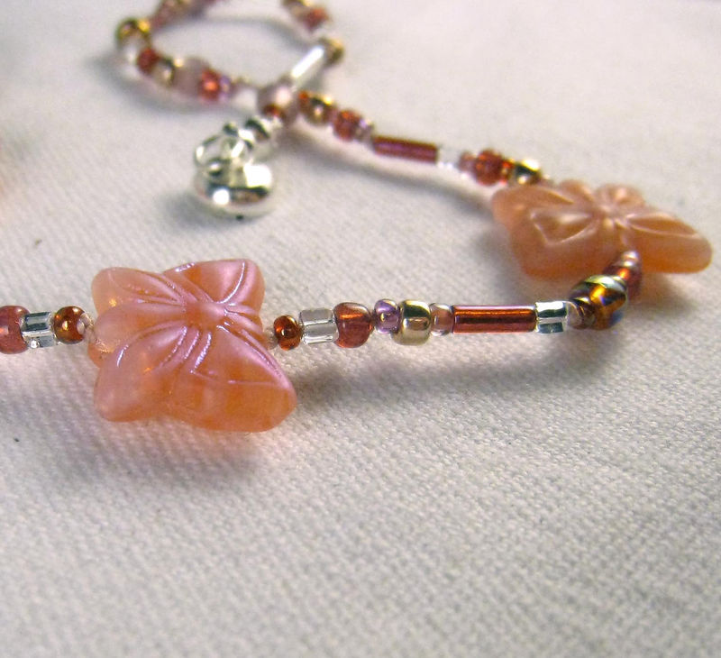 Kids Jewelry, Girls Coral Butterfly Necklace, Red Beads Magnetic clasp - product images  of