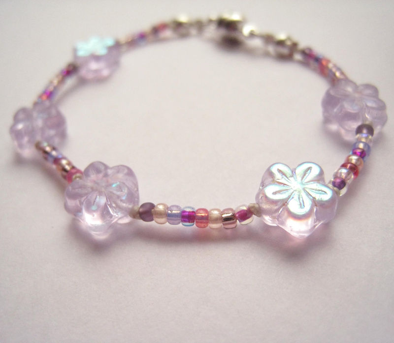 Girls Jewelry, Lavender Sparkle Flowers Bracelet, Magnetic clasp, Purple, Pink Beads - product images  of
