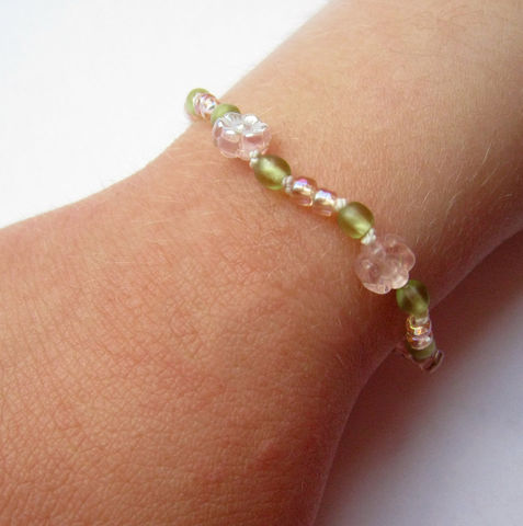 Girls,Princess,Bracelet,,Pink,Flowers,,Green,Beads,,Magnetic,clasp,Children,Jewelry,Bracelet,girls,pink,spring,gift,holiday,birthday,little_peeps,kids,beaded,czech_glass,magnetic_clasp,argentium_silver,flowers,Czech_glass_beads,silk_cord,silver_plated_magnetic_clasp