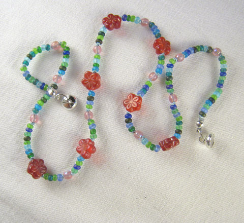 Kids,Jewelry,,Red,Flower,Blue,Beads,Necklace,,Glass,Magnetic,Clasp,Children,Jewelry,Necklace,little_girls,kids,grandchildren,flowers,magnetic_clasp,beaded,sparkle,pretty,rose,Gift,birthday,Jewel_Tones,Czech_glass_beads,silk_cord,lead_safe_magnetic_clasp,Argentium_silver_hardware
