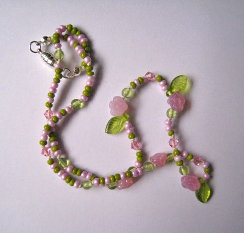 Kids,beaded,Jewelry,,Pink,flowers,&,Green,Leaves,Necklace,,Czech,Glass,Children,Jewelry,Necklace,easter,little_girl,spring,czech_glass,magnetic_clasp,pink,leaves,swarovski_crystals,little_peeps,kid,children,czech_glass_beads,swarovski_crytstals,sterling_silver_hardware,lead_safe_magnetic_clasp