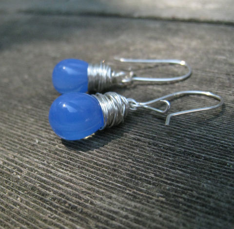 Blue,Glass,Teardrop,Earrings,,Argentium,Sterling,Silver,Wrap,,Womens,Everyday,jewelry,Jewelry,Earrings,Czech Glass, Argentium_Silver,Iridescent,nickel_free, Everyday jewelry, women's jewelry, Summer jewelry