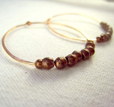 Medium,Hoop,Earrings,,Hammered,Copper,,Ethiopian,Trade,Beads,,Womens,Copper,Jewelry,Earrings, Copper, handmade, Fall, Warm, African beads, hoops, healing