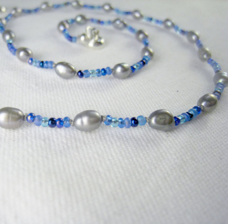 Teen Girls & Womens Jewelry, Grey Freshwater Pearls, Blue Beads Necklace, Magnetic Clasp - product images  of